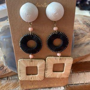 NWT! Domino Raffia Bojo Drop Earrings